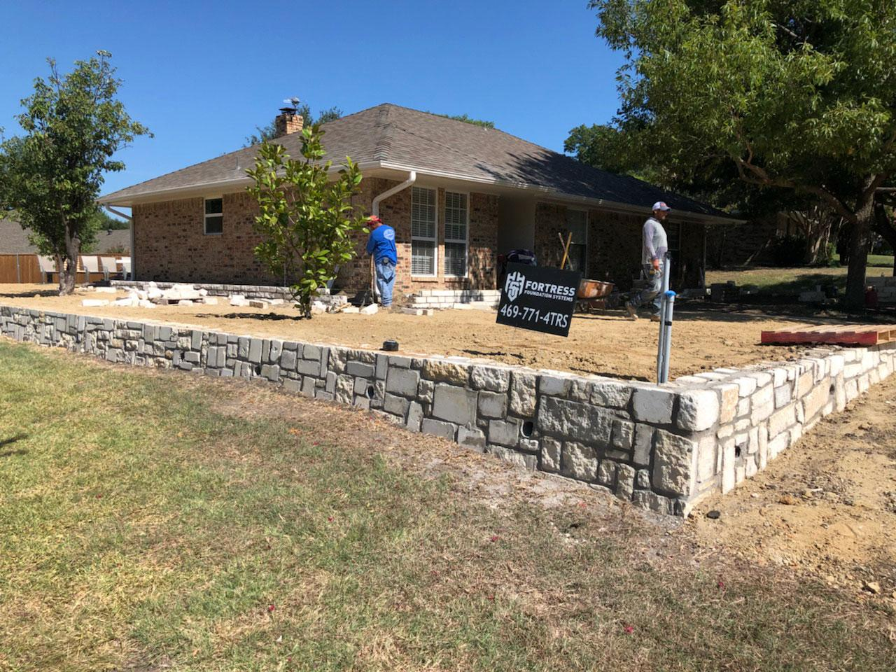 retaining wall contractors rockwall tx dfw stone home commercial business best companies near me fortress foundation systems